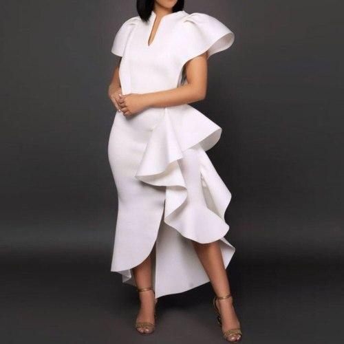 Summer Women's Dresses Elegant Fashion Plus Size Party Ruffles Dress Ladies