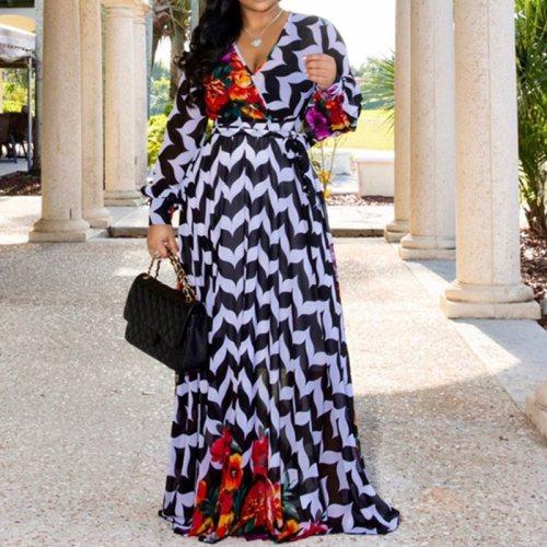 Fashion Long Sleeve Dress Women V Neck Casual Maxi Long Dress