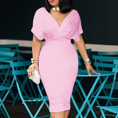 Plus Size Bodycon Dress Women Elegant Office Ladies Midi High Waist Dress Party