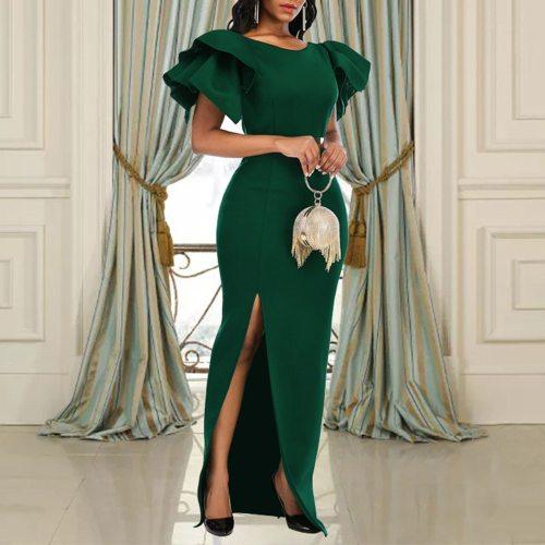 Evening Long Dress Elegant High Waist Plus Size Slim Sexy Chic Women Maxi Party Dresses