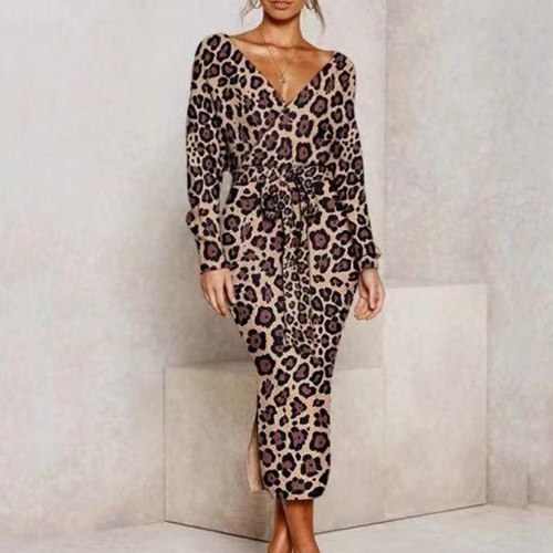 Sexy Dress for Woman High Waist V-neck Long Sleeve Night Club Plus Size Dress