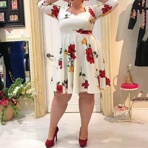 Summer Women Dress Plus Size Elegant Office Ladies High Waist Midi Dress Vintage