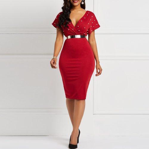 Dress Sexy V Neck High Waist Short Sleeve Ladies Bodycon Plus Size Party Dress