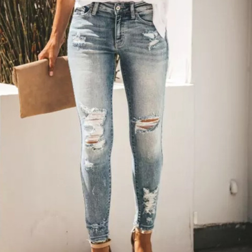 Women's Jeans streetwear Casual Ripped Baggy Jeans Fashion Sexy Denim Trousers
