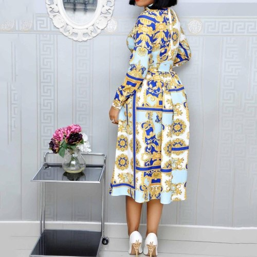 Vintage Women Dress Office Ladies Plus Size Long Sleeve Midi Autumn Dresses