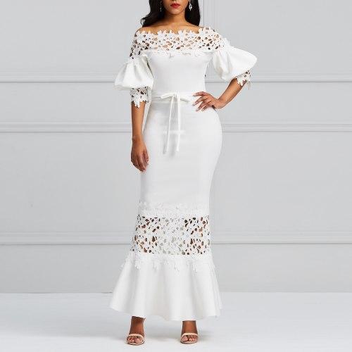 Elegant Women Long Party Dress Lace Bodycon Plus Size Evening Maxi Dresses