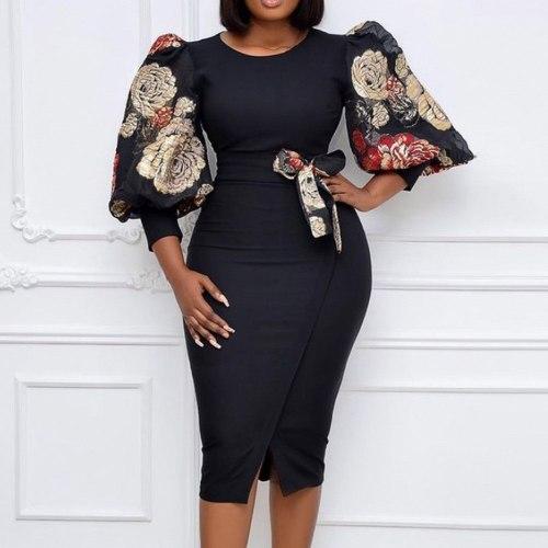 Lady Ladies Dresses Pencil Dress Elegant Trendy Simple Round Neck