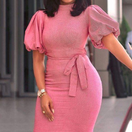 Womens Vintage Short Sleeve Summer Ladies Elegant Tight Midi dresses
