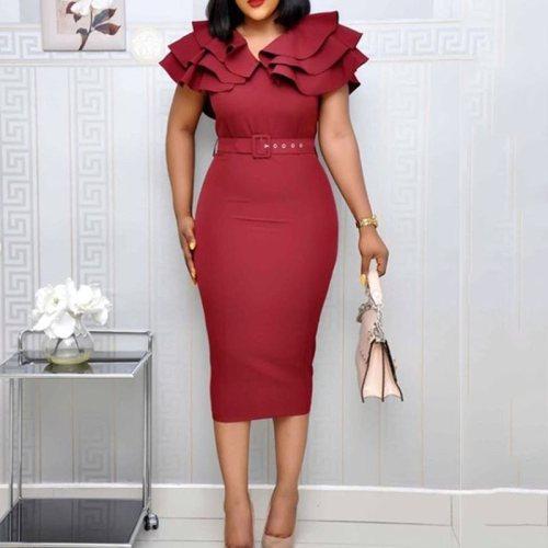 Plus Size Elegant Party Dress Women Ruffle Vintage Ladies Sexy Split Bodycon Midi Dresses