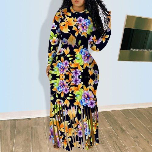 Women Dress Vintage Long Sleeve Bodycon Sexy Party Maxi Dress