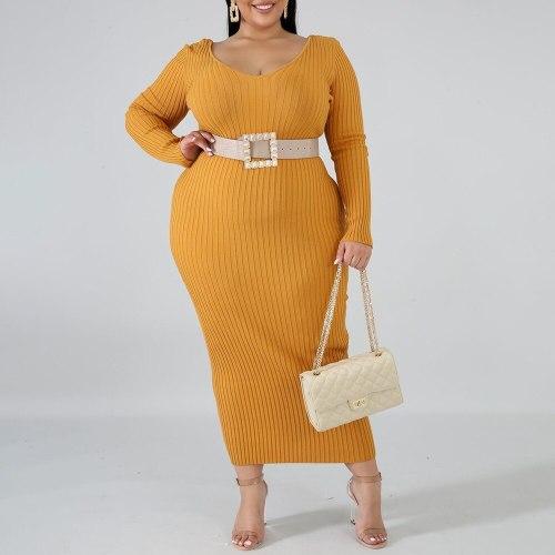 Long Dress Sexy V Neck Long Sleeve Plus Size Women Casual Maxi Dress