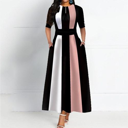 Round Neck Color Vintage Women Maxi Dress Elegant Female Retro Dress Office Long