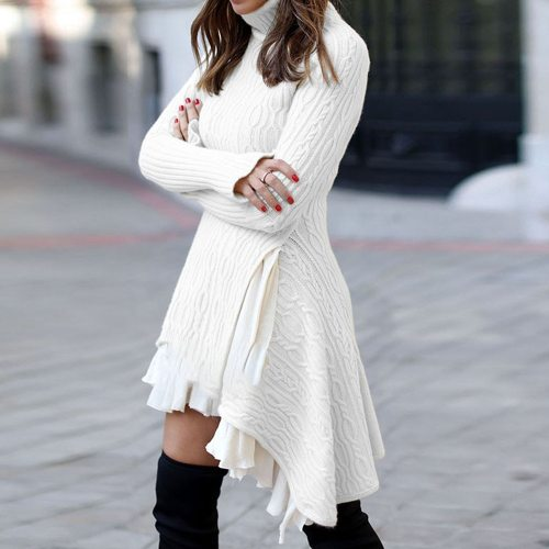 Sweater Dress for Women Winter Long Sleeve Fashion Plus Size Ladies Mini Knitted Dresses