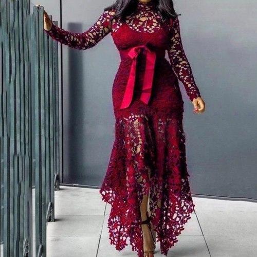 Sexy Lace Plus Size Dress Fashion Elegant Irregular Long Sleeve