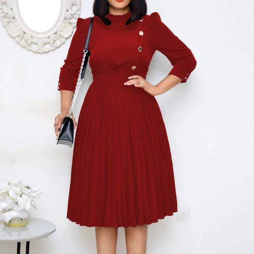 Vintage Plus Size Midi Pleated Dress Clothes Elegant Women Solid Dress Office