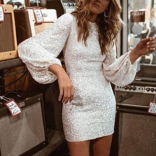 Women Mini Dress Elegant Fashion Club Prom Party Dress Summer Long Sleeve Bodycon