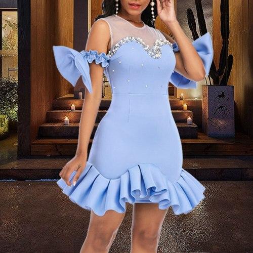 Short Party Dress Sexy Patchwork Night Club Evening Mini Dress