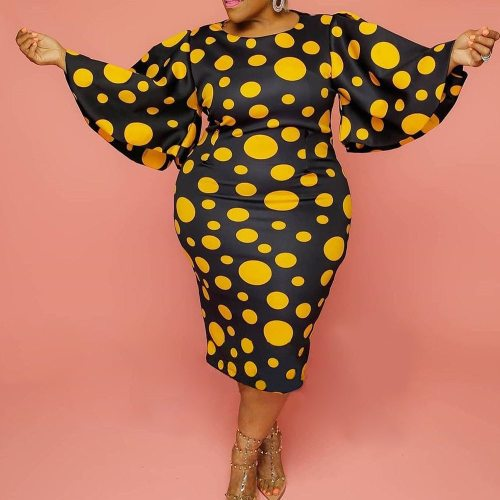 Vintage Plus Size Dress for Women Retro Falre Sleeve Bodycon Midi Party Office