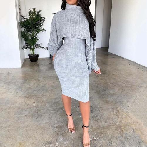 Women Long Sleeve Sweater Dress Fashion Warm Bodycon Plus Size Dresses
