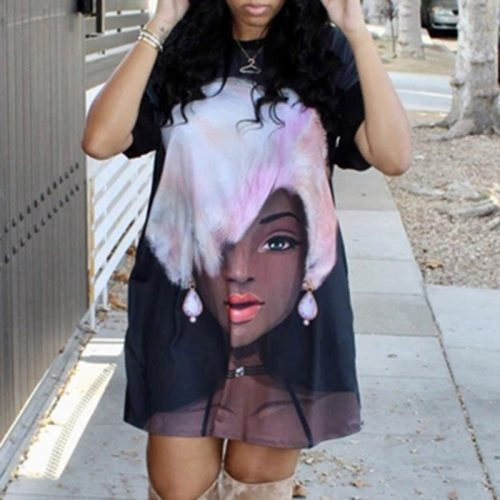 Ladies Casual Loose Dress Round Neck Somen Short Mini Plus Size Dresses