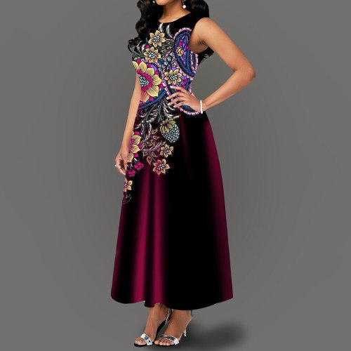 Summer Long Sleeveless Dress Vintage Elegant Ladies Maxi Dresses Party Evening