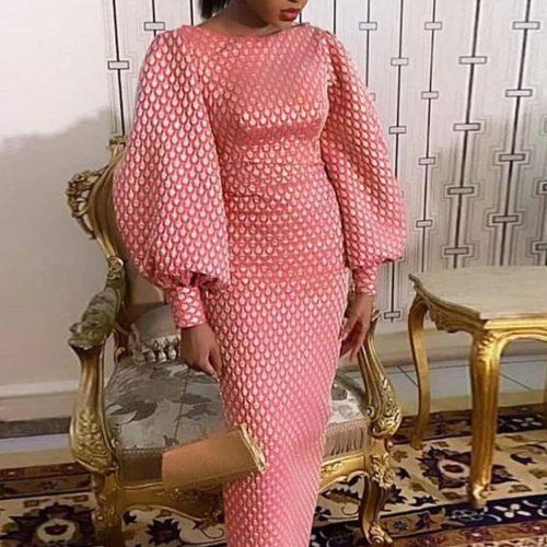 Women Vintage Lantern Sleeve Dress Retro Bodycon Party Dress Long Elegant