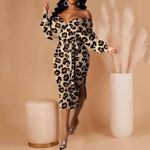 Women Elegant Elegant Party Dress Fashion Sexy Split V-neck Long Sleeve