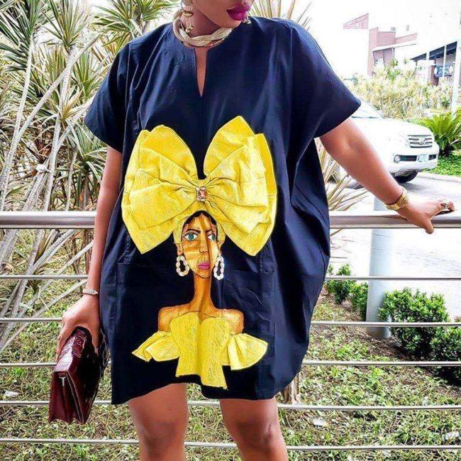 Casual Women Dress Fashion Streetwear Loose Office Lady Mini Plus Size Dress