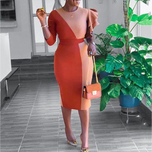 Ruffles Women Bodycon Dress Ladies Elegant Party Office Dresses
