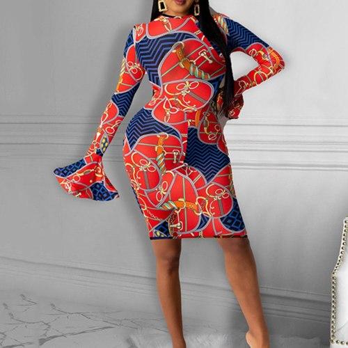 Dress Fashion Sexy Printing Round Neck Retro Dress