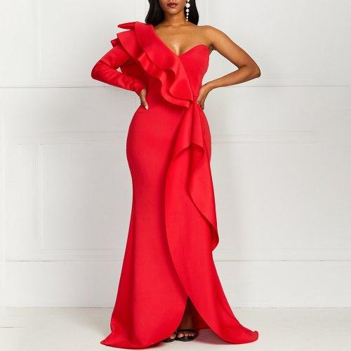 Elegant Party Sexy Evening Women Long Dresses Bodycon Female Ruffles Maxi Dress