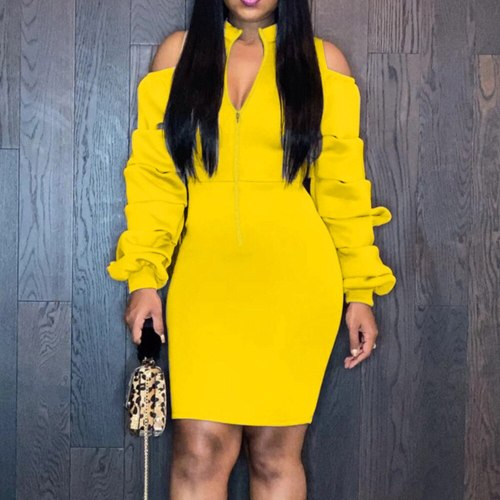 Women Bodycon Dress Fashion Slim Solid Color Long Sleeve Dresses Ladies Casual