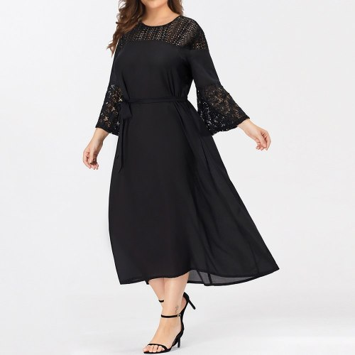 Dress Fashion Casual Sexy Lace Round Neck Long Sleeve Dresses