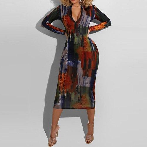 Dress Fashion Irregular Round Neck Long Sleeve Woman's Clothing