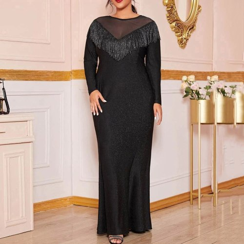 Plus Size Evening Party Dress Women Long Sleeve Sexy Tassel Dress Elegant