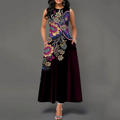 Summer Long Sleeveless Dress Vintage Elegant Ladies Maxi Dresses Party Evening