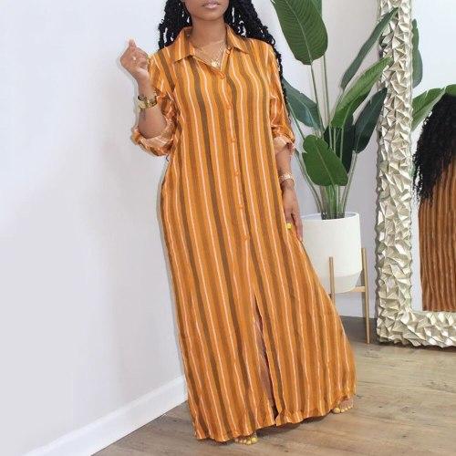 Women Casual Long Dress Long Sleeve Fashion Office Plus Size Maxi Dresses
