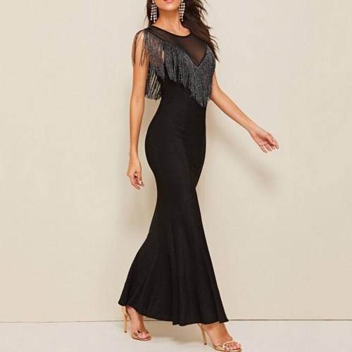 Sexy Women Dress Fashion Chic Elegant Tassel Round Neck