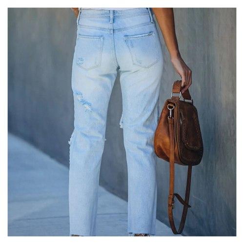 Women's Denim Trousers Ripped Vintage Jeans Summer Casual Fashion Women Pants