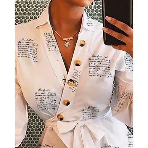 Casual Fashion Women's Shirt Long Sleeve V Neck Lantern Sleeve Women