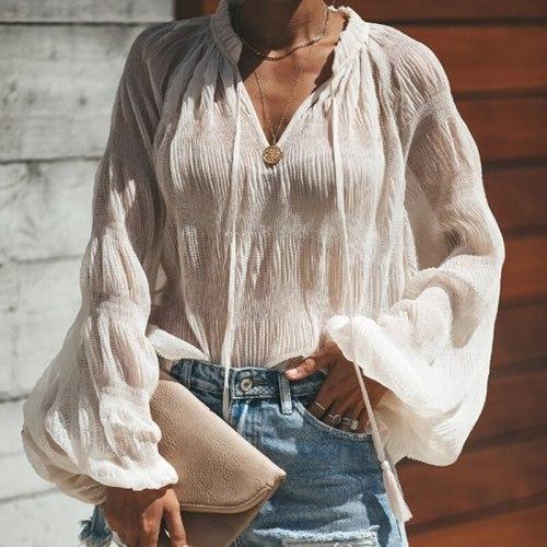 Women V Neck Elegant Top Sexy Chiffon T-Shirt Female Lace Up Casual