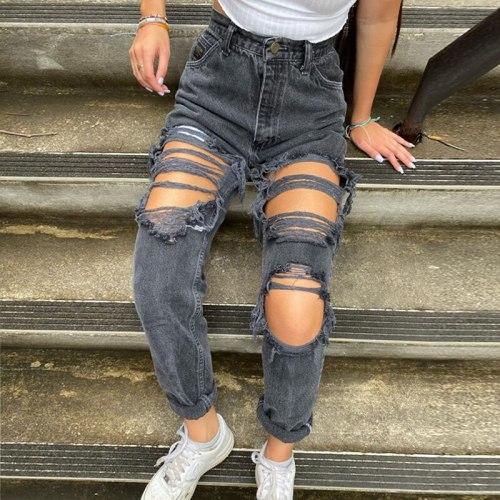 Jeans Women's Streetwear Ripped Slimming Pants Jeans Pants Ladies Trousers