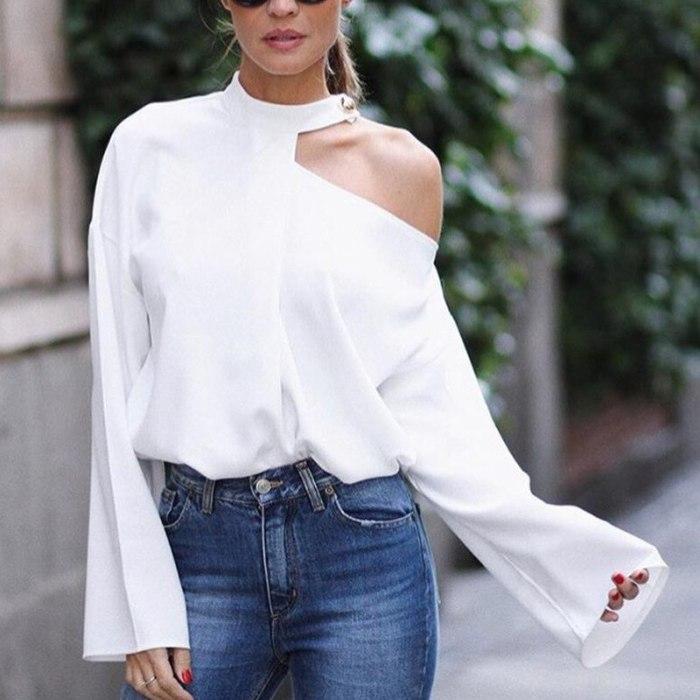 Vintage Tops Women Elegant T Shirt Sexy Tops Bloues Female Flared Sleeve