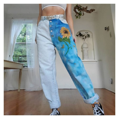 Jeans Pants Jeans High Waist Straight Leg Fashion Women's Denim Pants