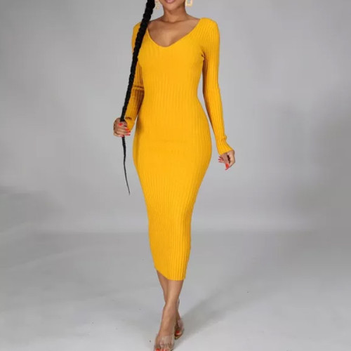 Women Sexy Bodycon Dress Long Sleeve Fashion Colthes Casual Simple Office Lady