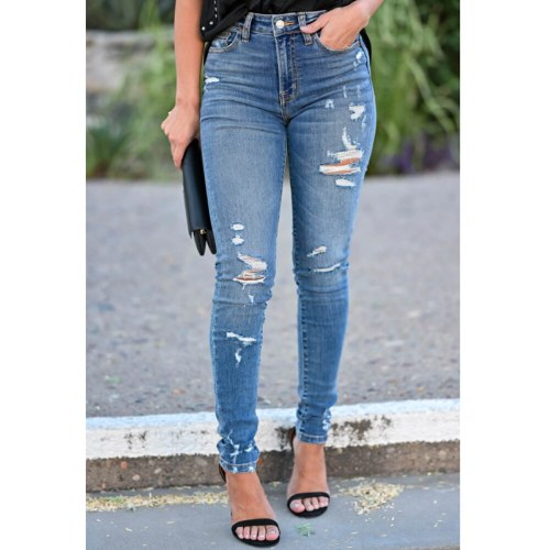 High Waisted Jeans Skinny Pants Women Ripped Jeans Fashion Trousers