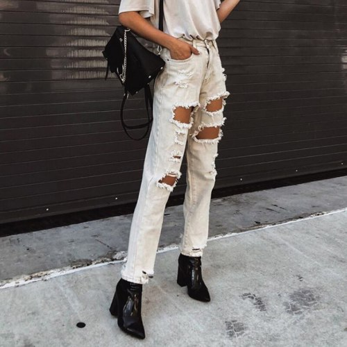 Streetwear Ripped Jeans Style Pants Girls Women Pants