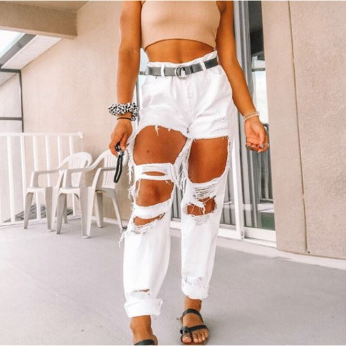Women's Ripped Jeans Pants Fashion Classic Casual Vintage Denim Trousers