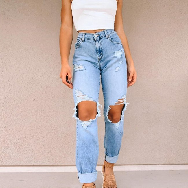 Women's Vintage Jeans Ripped Female Casual Loose Denim Summer Pants Trousers