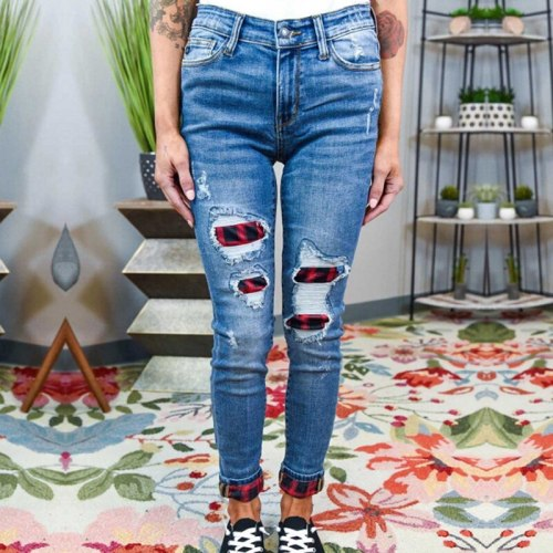 Women's Ripped Skinny Jeans Denim Pants Casual Trousers